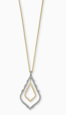 Simon Long Pendant Necklace in Mixed Metal