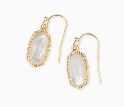 Lee Gold Drop Earrings in Ivory Mother of Pearl