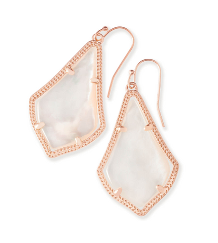 Alex Rose Gold Drop Earrings in Ivory Mother of Pearl