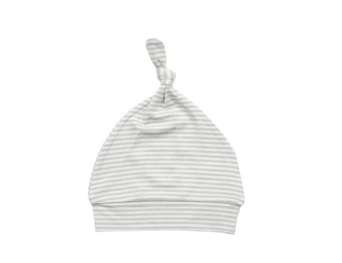 Basics Grey Stripe Knotted Hat 0-3 Month