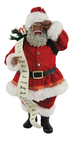 "10"" African American Santa with His List"