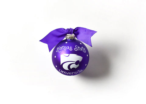 KANSAS STATE LOGO GLASS ORNAMENT