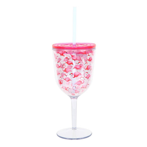 Flamingo Insulated Wine Glass