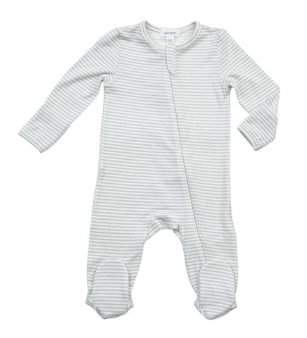 Basics Grey Stripe Zipper Footie 3-6 Month