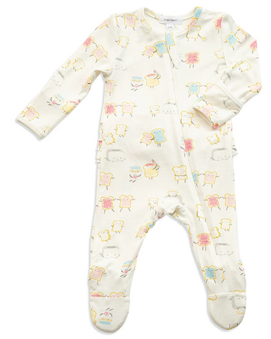 Jelly Toast Zipper Footie Ruffle Back 3-6 Month