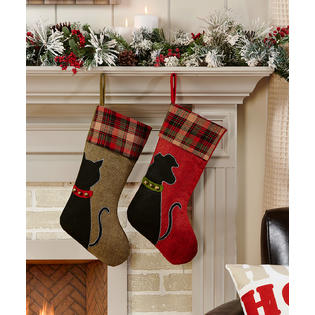 Gift Craft Red Brown Plaid Cat and Dog Family Pets Christmas Holiday Stockings