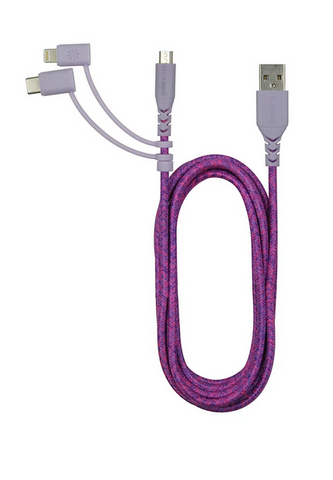 Triple Header Maxi 6ft Woven USB Cable (MiFi): Pink Purple