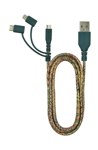 Triple Header Maxi 6ft Woven USB Cable (MiFi): Confetti Colors