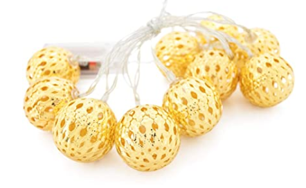 Lucent Metal Filigree Ball 10 LED String Gold