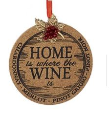 Wooden Cork Plaque Sign Ornament - Home is Where the Wine is