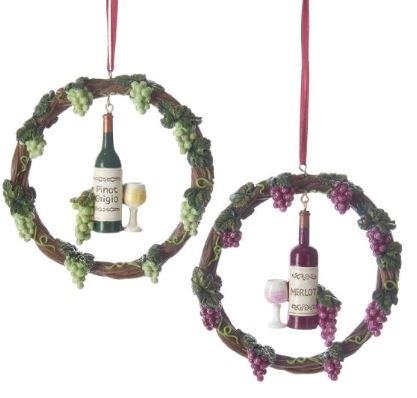 Wine Bottle With Grapevine Wreath Ornaments
