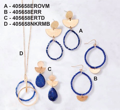 Summer Blues- Stone, Glass Bead and Metal Necklace & Earrings (sold separate)