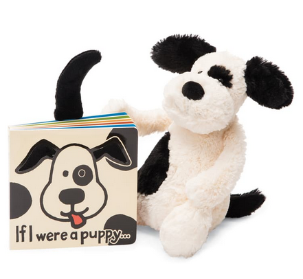 If I Were a Puppy Book + Bashful Puppy (Black/Cream) BUNDLE