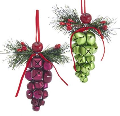Burgundy/Green Bell Grapes Ornaments