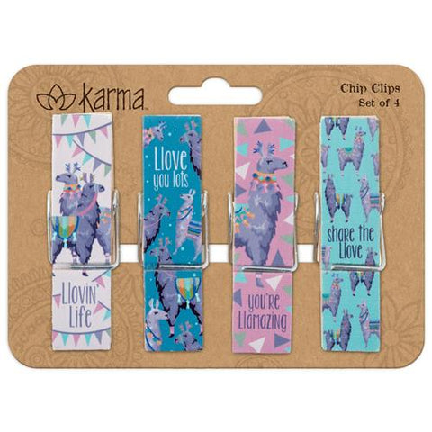 Gray Llama Chip Clips - Set of 4