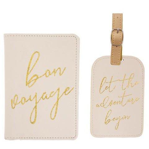 Passport Holder & Luggage Tag Set Pearl