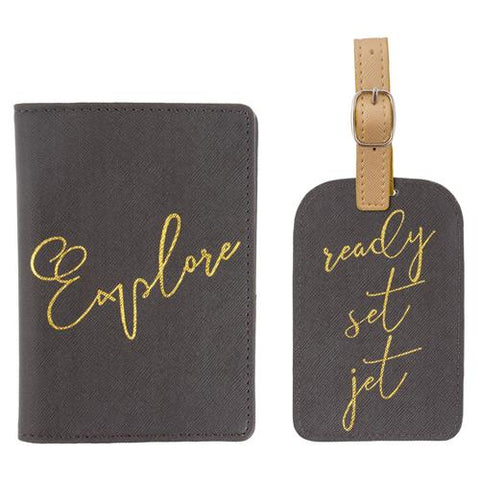 Passport Holder & Luggage Tag Set Charcoal