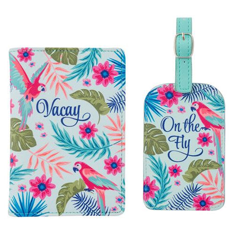 Passport Holder & Luggage Tag Set Tropical