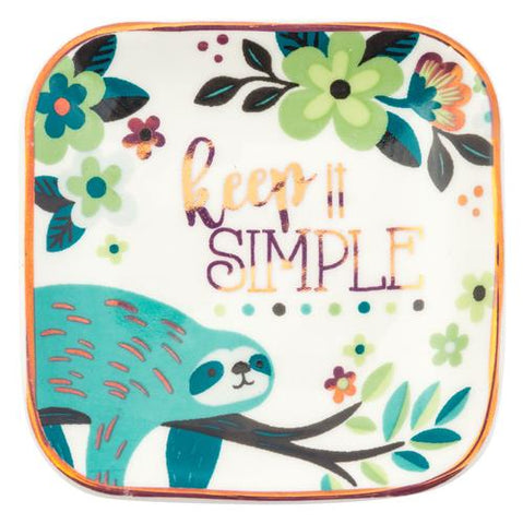Small Square Trinket Tray Sloth