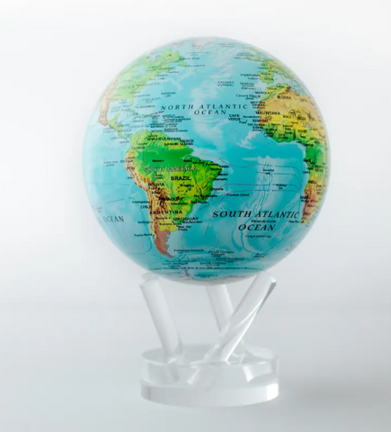 "Blue Ocean Relief Map MOVA Globe 4.5"" with Acrylic Base"