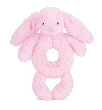 Bashful Pink Bunny Ring Rattle