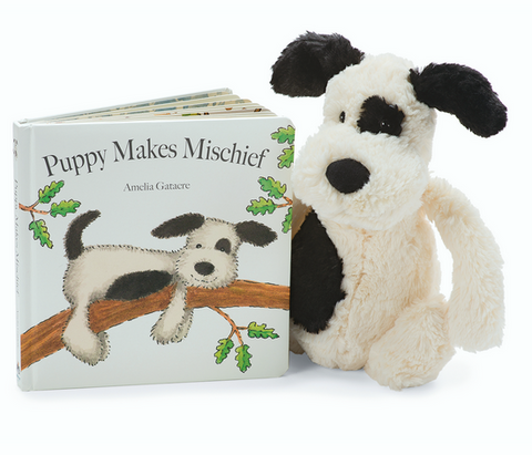Puppy Makes Mischief Book + Bashful Puppy (black/cream) BUNDLE
