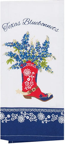 Cowboy Boot Texas Bluebonnets Cotton Dish Tea Towel 18x28 from Kay Dee Designs