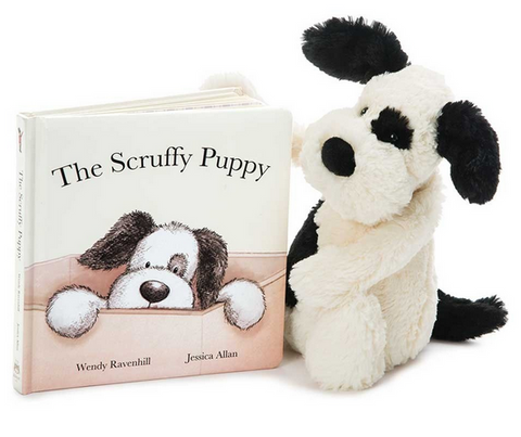 The Scruffy Puppy Book + Bashful Puppy (black/cream) BUNDLE