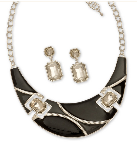 Crystal Stone and Black Collar Necklace and Earrings Set