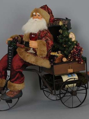 Lighted 2 Bottle Wine Trike Santa