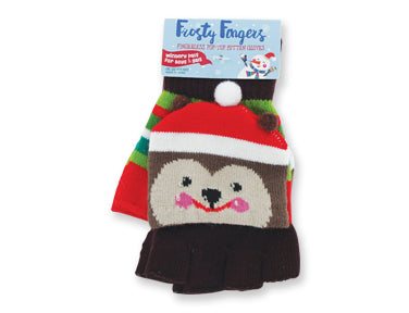 Kids Fingerless Gloves!  Cute as can Be! Snowman, Bear, Elf
