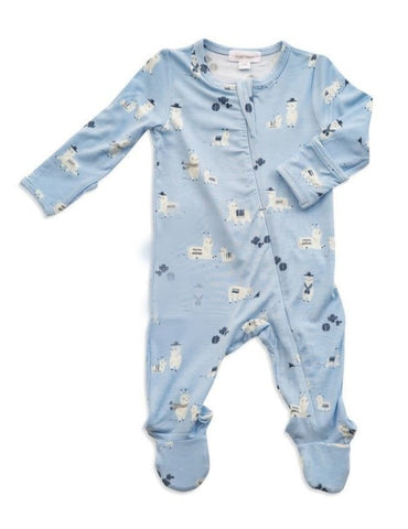 Llama Zipper Footie Blue 3-6 Month