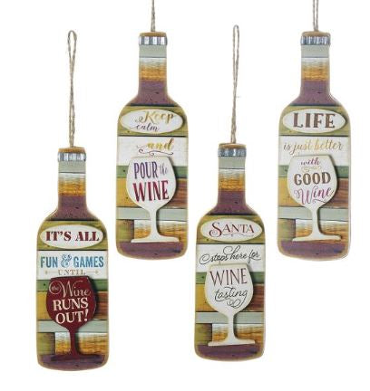 Wooden Wine Bottle With Sayings Ornaments