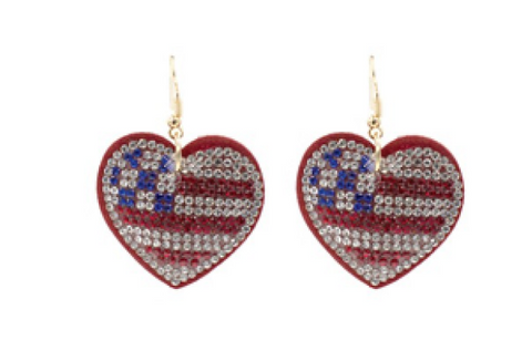 USA Heart Flag Earrings