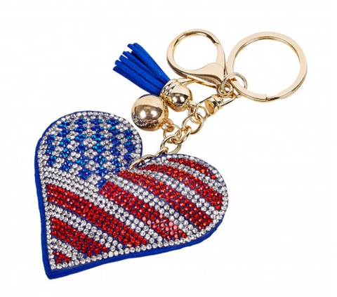 USA Purse Charm/Keychain Flag Heart