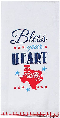 Texas Themed Bless Your Heart Cotton Krinkle Flour Sack Kitchen Towel 18x26 from Kay Dee Designs