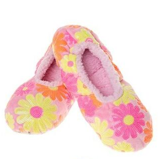 Women's Sequin Daisy Ballerina Snoozies! - Pink
