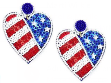 USA Sequin Heart Earrings