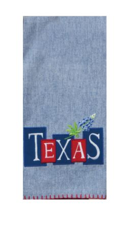 Texas & a Bluebonnet Embroidered Cotton Dish Tea Towel 18x28 from Kay Dee Designs