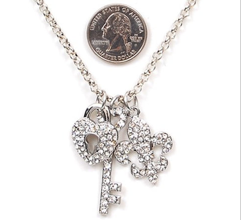 Fleur De Lis Lock and Key Necklace - All That Glitters