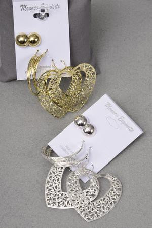 3pair Earrings Filigree Heart With Mix Design - All That Glitters
