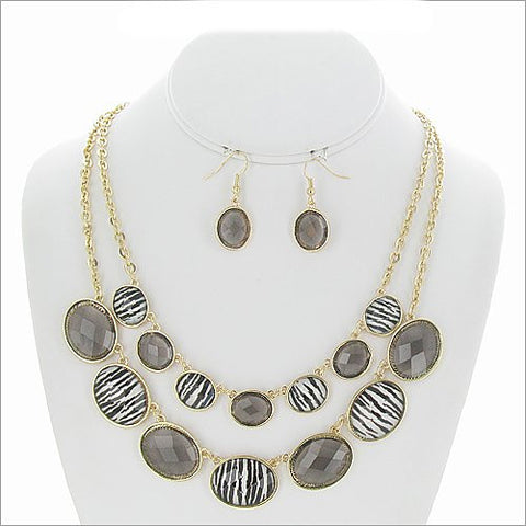 Oval Zebra Necklace Set - All That Glitters