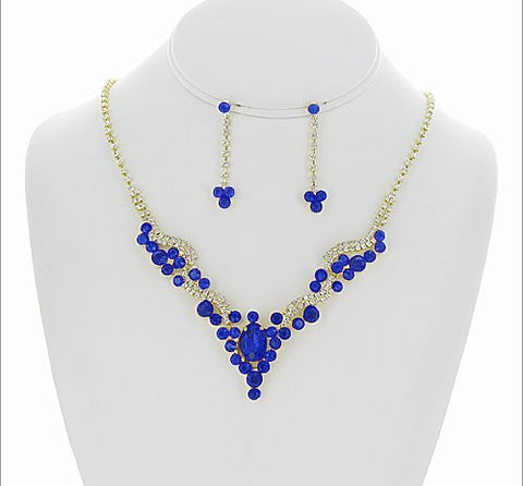Rhinestone Necklace and Earring Set - All That Glitters - 1