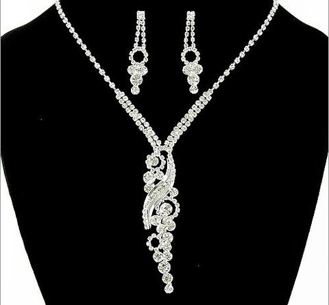 Rhinestone Necklace and Earring Set - All That Glitters - 4