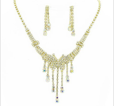 Rhinestone Necklace and Earring Set - All That Glitters - 2