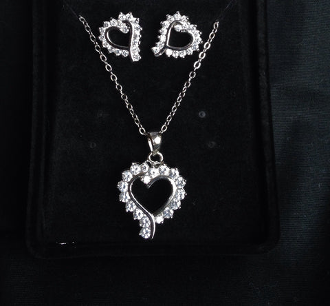 CZ Heart Necklace and Earring Set - All That Glitters