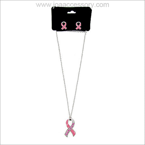 Pink Ribbon Necklace Set - All That Glitters