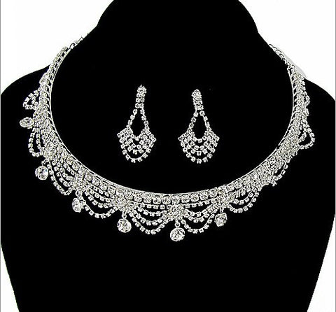 Rhinestone Necklace and Earring Set - All That Glitters