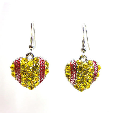 Softball Heart Dangle Earrings - All That Glitters