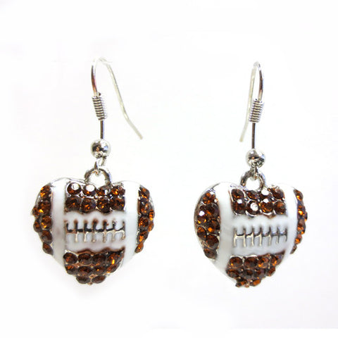Football Heart Dangle Earrings - All That Glitters